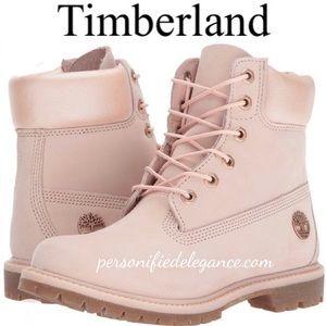 "NEW Timberland 6"" Premium Pink Nubuck Boots Sz 10"